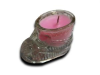 Glass Baby Boot Candle - PINK