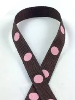 0.95 cm x 9.14metres Grosgrain Polka Dot -Chocolate with Pink dots