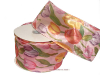 6.35cm Wired Flower Print Ribbon - Pink