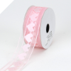 3.81cm Organza with Satin Hearts Ribbon - Pink