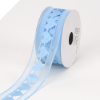 3.81cm Organza with Satin Hearts Ribbon - Blue