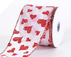 6.35cm Wired Valentine Red Heart Ribbon - White