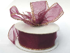 3.81cm Wired Organza-Burgundy, Gold edge