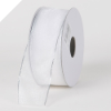 3.81cm Wired Organza-White, Silver edge-22 metres