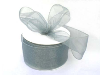 6.35cm x 22.86metres  Wired Organza - Silver