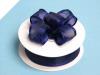 2.22cm Wired Satin Edged Organza-Navy