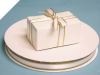 0.95 cm Satin Ribbon-Ivory/Gold