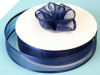2.22cm Satin Edge Organza-Navy Blue