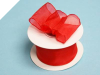3.81cm Wired Organza-Red