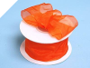 3.81cm Wired Organza-Coral Orange
