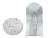 Motif Embroidery Chair Sash - Silver