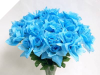 Silk Open Rose - Turquoise 1-bunch