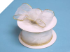 3.81cm Wired Organza-White, Gold edge
