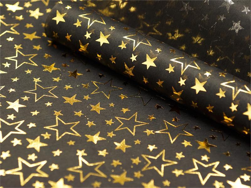 Non-woven Star Print Fabric Gold/Black